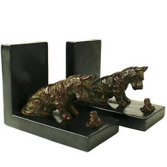 Pair of Terrier and Toad Bookends