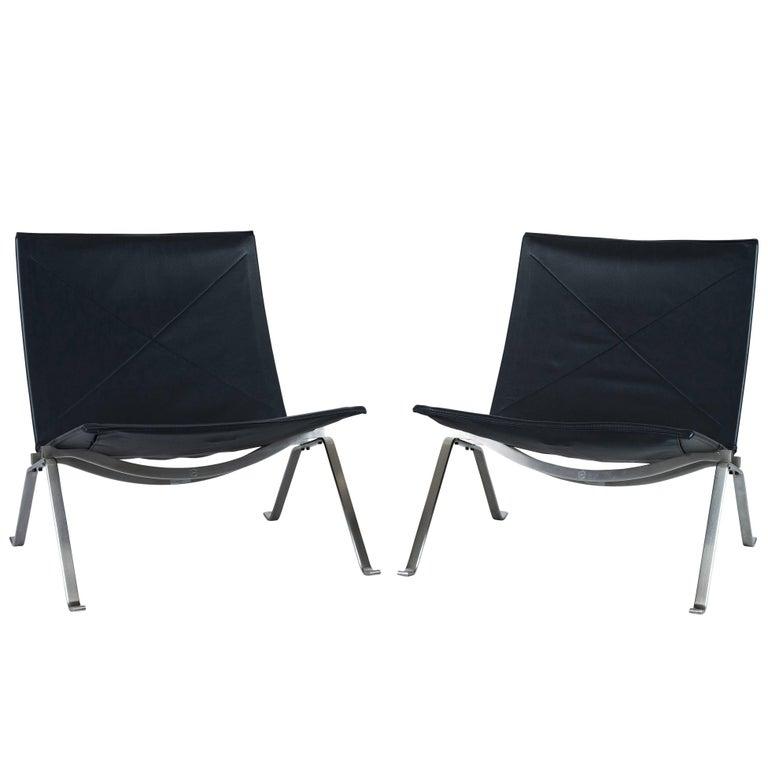 Pair of Poul Kjaerholm PK 22 Lounge Chairs by Fritz Hansen 1