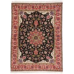 Vintage Tabriz Persian Rug with Art Nouveau Rococo Style