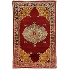 Vintage Turkish Oushak Rug for Kitchen, Foyer, Bathroom or Entry Rug