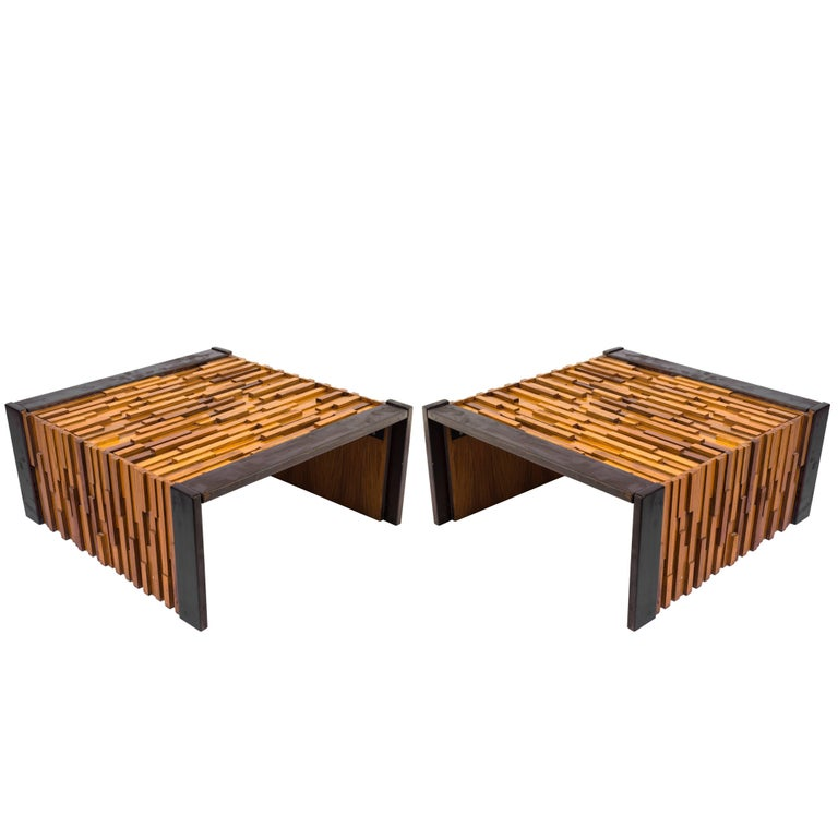 1970s Pair of Percival Lafer End Tables with Glass Tops