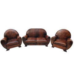 Art Deco Vintage Brown-Cognac Leather Club Set, Set of Three