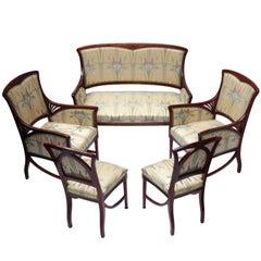 Jugendstil Mahagoni Sitzgruppe, Set von Fünf