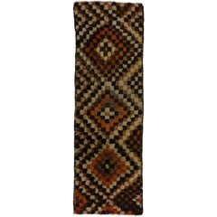 Mid-Century Modern Vintage Turkish Tulu Runner with Checker Pattern
