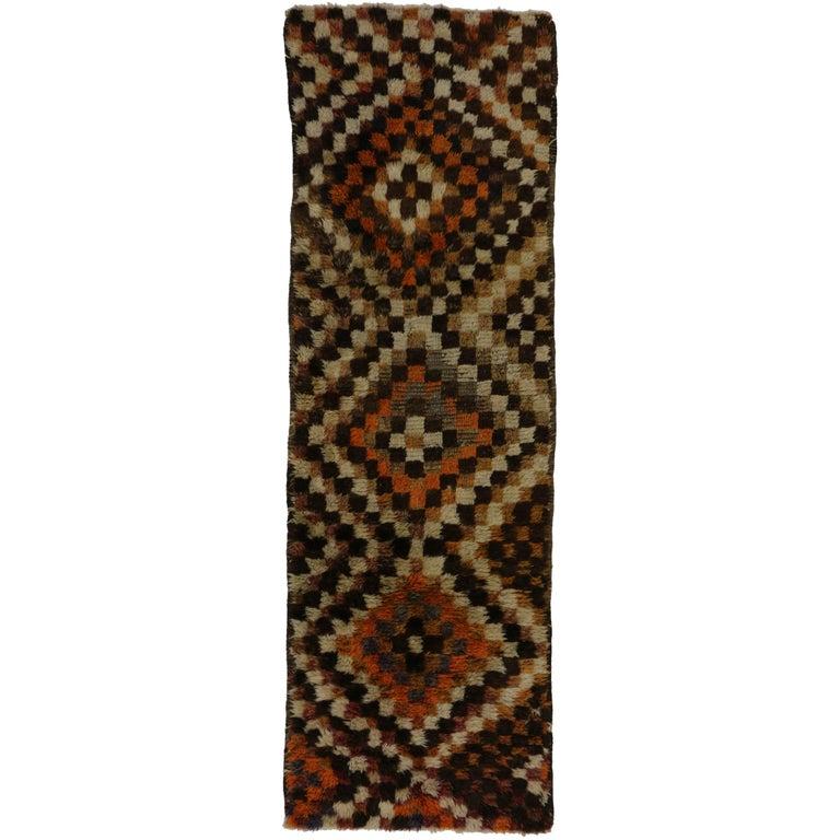 Mid-Century Modern Vintage Turkish Tulu Runner with Checker Pattern