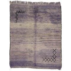 Vintage Berber Moroccan Rug with Purple Abrash and Tribal Design