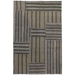 Vintage Turkish Gray Flatweave Kilim Rug with Black Stripes, Flat-weave Rug
