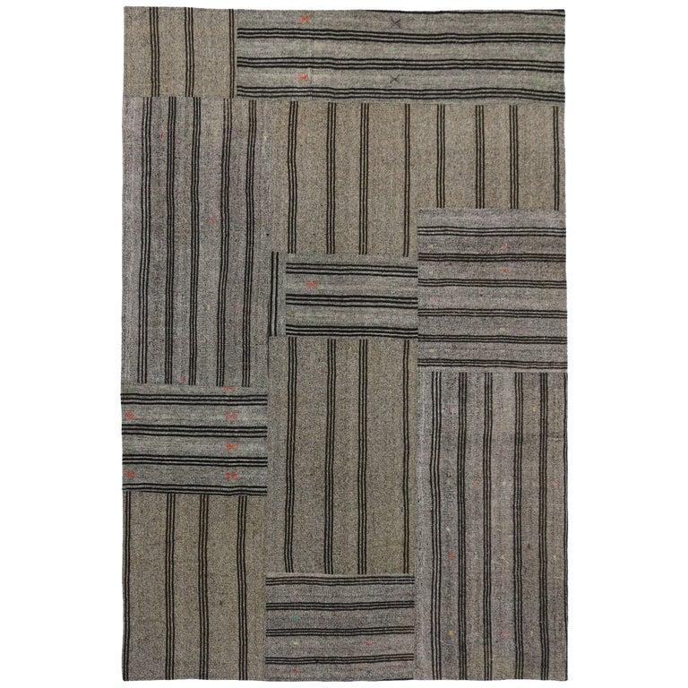 Vintage Turkish Gray Flatweave Kilim Rug with Black Stripes, Flat-weave Rug For Sale