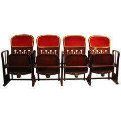 Row of Four Bentwood Viennese Theatre Chairs by Thonet, circa 1907