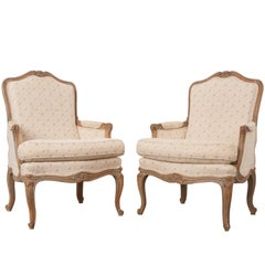 Pair of 19th Century French Louis XV Bergères