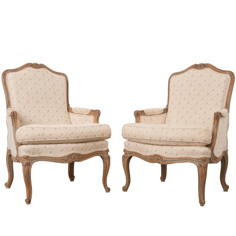 Pair of 19th Century French Louis XV Bergères For Sale