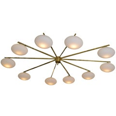 Ten Opaline Shade Brass Chandelier from Italy