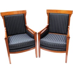 Early 19th Century Pair of Biedermeier Solid Cherry Bergeres, new upholstered