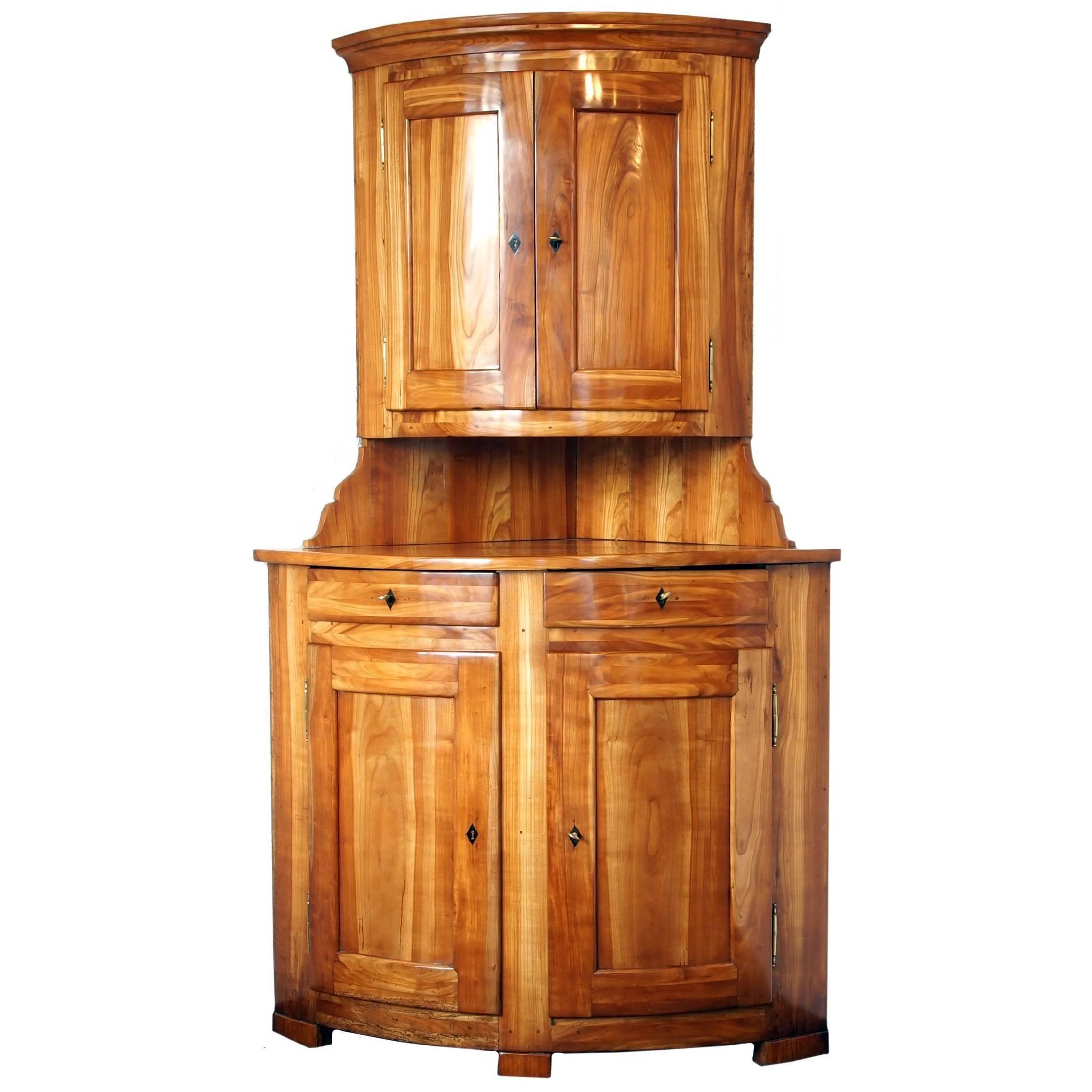 Early 19th Century Solid Cherry Biedermeier Corner Cabinet