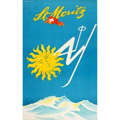 Original Vintage Mid-Century Skiing Poster by Barberis for St Moritz Switzerland