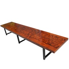 Mid-Century Modern Long Rosewood Bench with Fantastic Grain by Milo Baughman