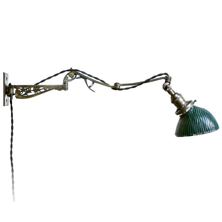 Ornate Brass Articulated Arm with Small X-Ray Lamp 1