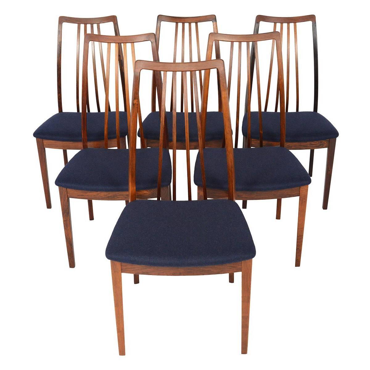 set of six danish modern kofod larsen rosewood high back dining chairs