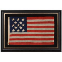 Entirely Hand-Sewn Antique American Flag of the 1861-1876 Era with 13 Stars