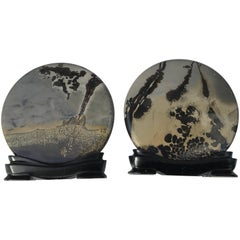 Chinese Stunning Pair of Natural Painting & Scholar Stones
