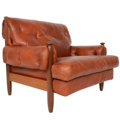 Walnut and Leather Brazilian Style Lounge Chair