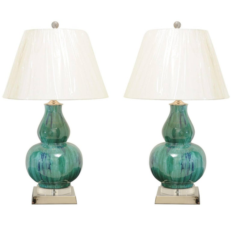 Fantastic Pair of Drip Glaze Gourd Lamps in Turquoise, Teal and Cobalt