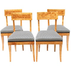 Early 19th Century Set of Four Biedermeier Birch Wood Chairs from Germany