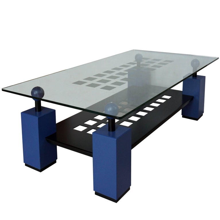 Blue Coffee Table 1980 Memphis Style For Sale At 1stdibs