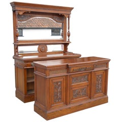 English Made Victorian Solid Oak Carved Front and Back Bar