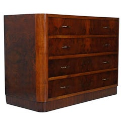1930s Art Deco Chest of Drawers Commode Dresser in Burl Walnut