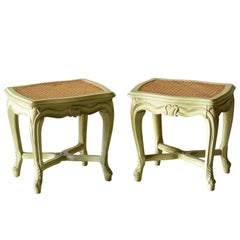Pair of Louis XVI Style Swedish Style Distressed Painted Caned Stools