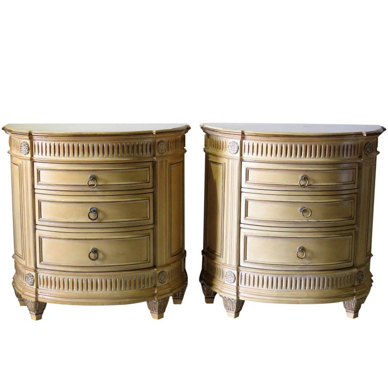 Pair Of Swedish Style Distressed Cream Painted Demilune Nightstands For