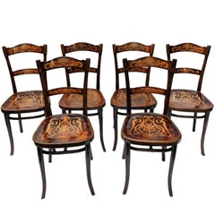 Art Nouveau Decorated Bentwood Dining Chairs from Thonet, Set of Six