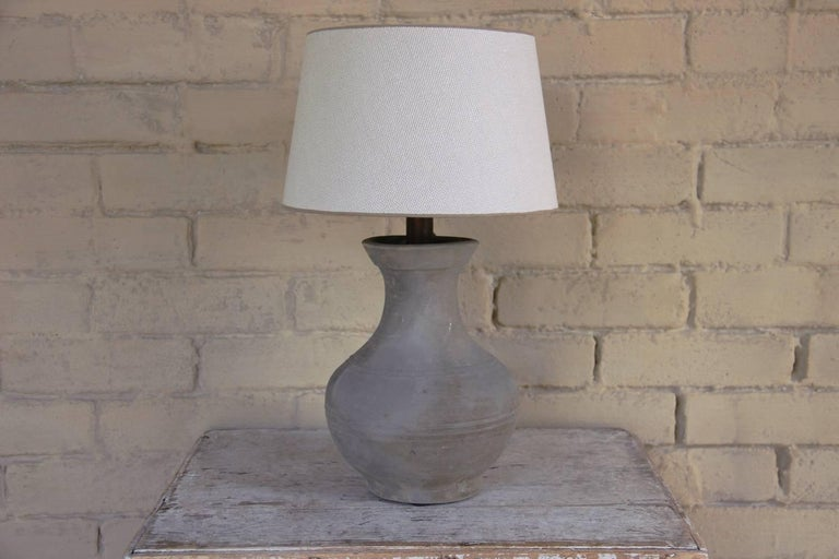 Chinese Han Dynasty Unglazed Vase as Petite Library Table Lamp 2