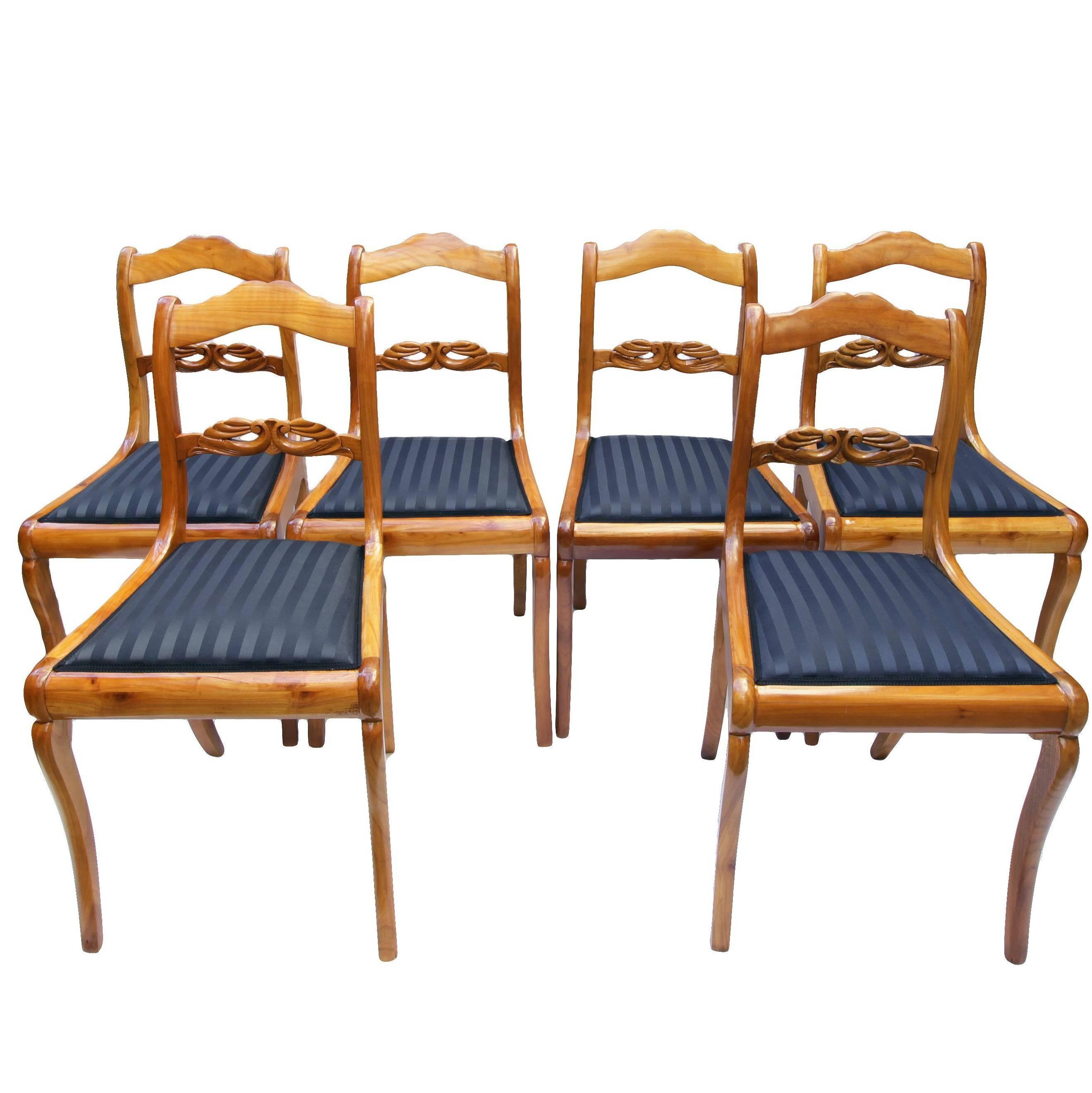 19th Century, Set of Six Cherry Biedermeier Chairs, Germany