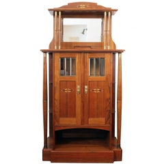 Late 19th Century Art Nouveau Walnut-Veneer Cabinet