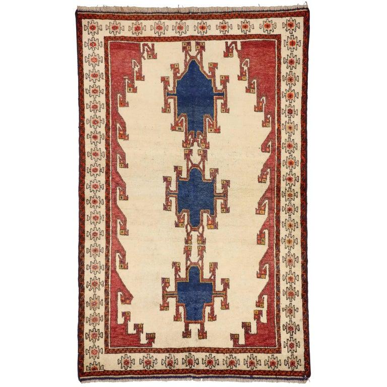 Vintage Shiraz Persian Rug with Modern Tribal Style