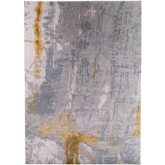 Grey Marble Area Rug in Silk, Wool and Nettle