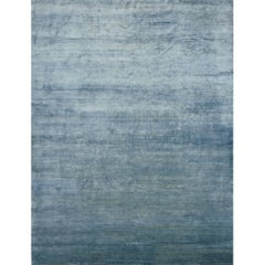Solid Silk Blue Rug Vegetable Dye
