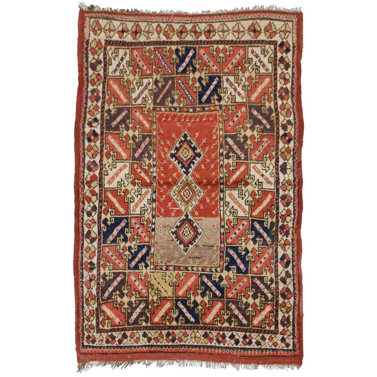 Antique Turkish Accent Rug With Modern Tribal Style