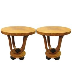 Pair of French Art Deco Amboyna Tulip Tables, circa 1925