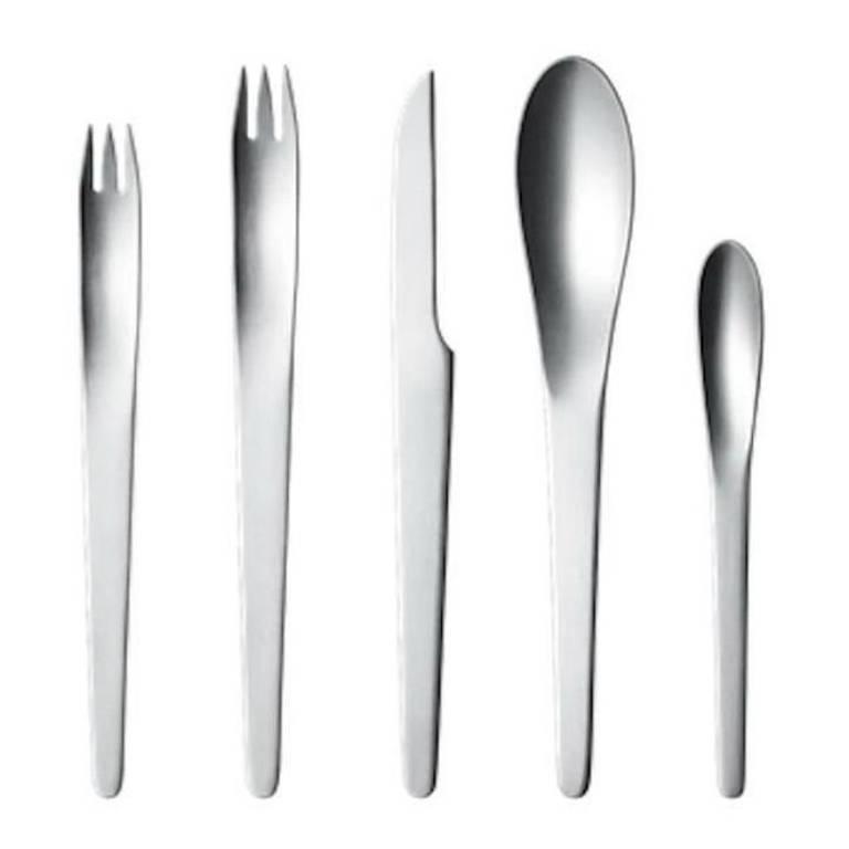 Arne jacobsen by georg jensen stainless steel flatware set 12 service 60 pcs new for sale at 1stdibs - Arne jacobsen flatware ...