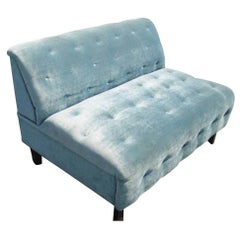 Vintage Velvet Tufted Settee Hollywood Regency