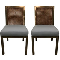 Pair of 1970s Brass & Cane Parsons Side Chairs by Widdicomb
