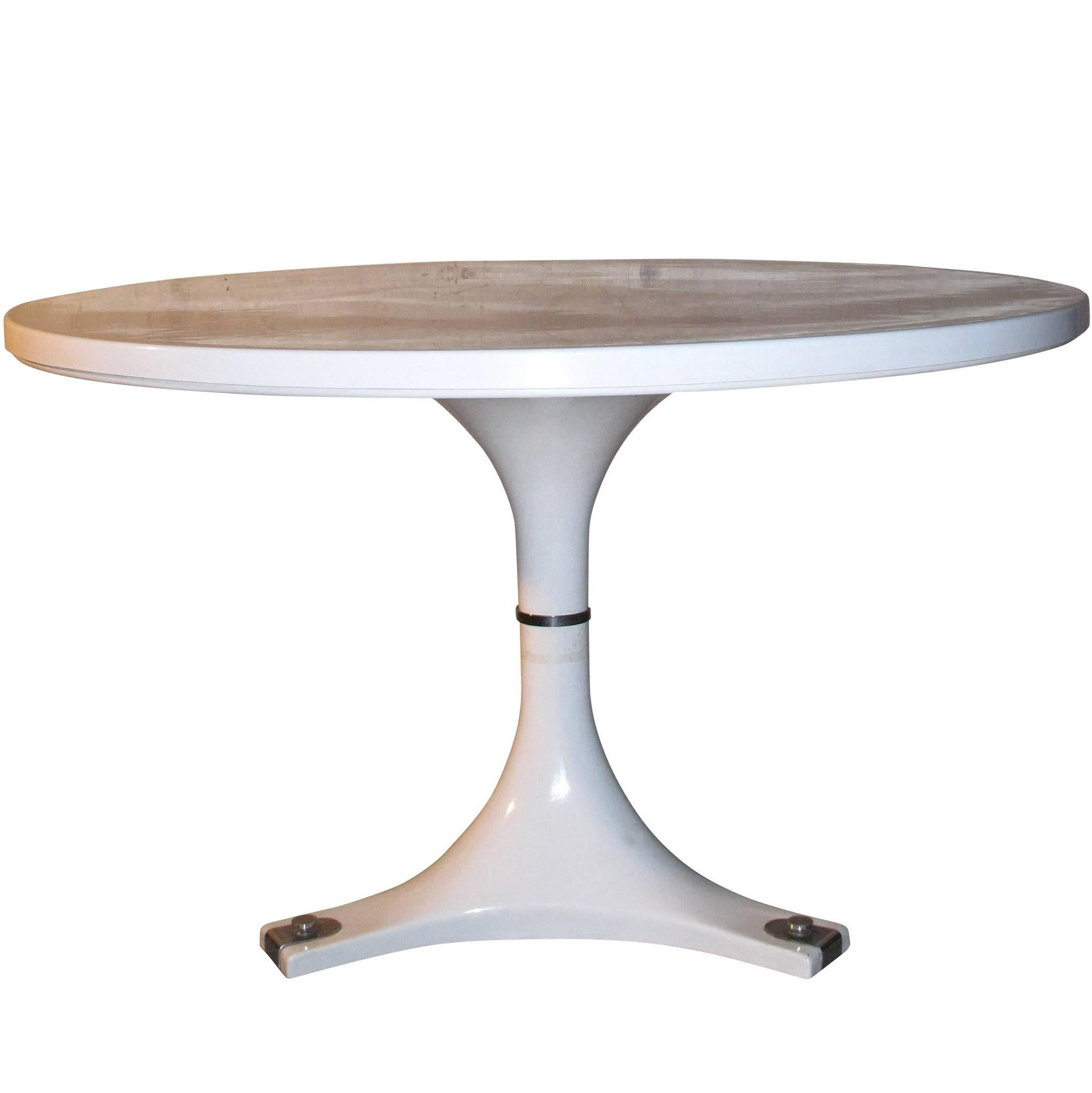 Rare White Round Dining Table By Anna Castelli Ferrieri For Kartell, Circa  1967