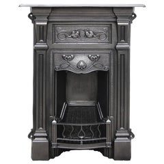 Antique Edwardian Cast Iron Bedroom Fireplace in the Art Nouveau Manner