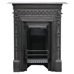 Small Antique Edwardian Cast Iron Bedroom Fireplace