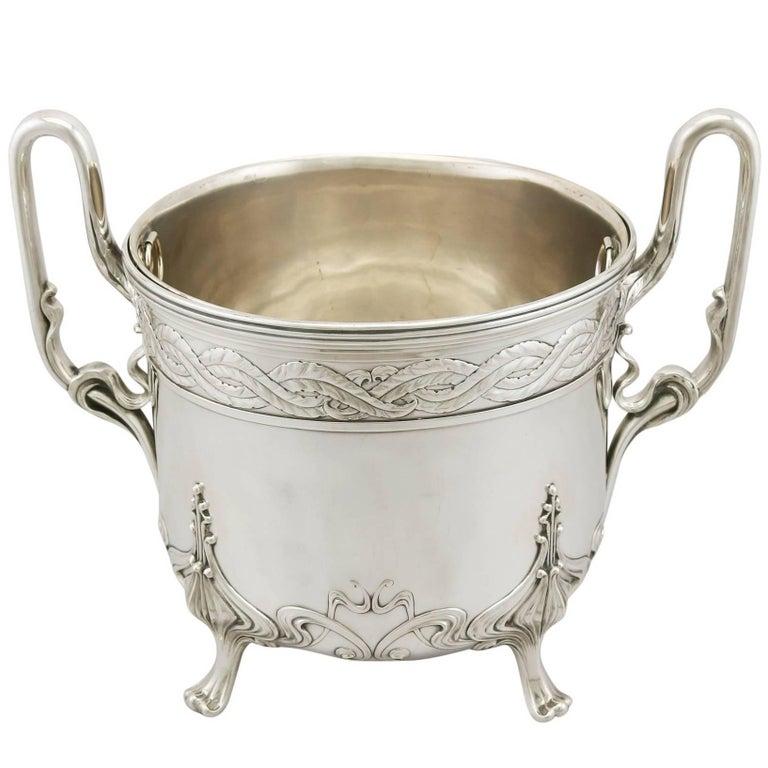 Antique 1900s Art Nouveau Style German Silver Wine Cooler