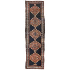 Antique Hamadan Persian Runner with Modern Tribal Style