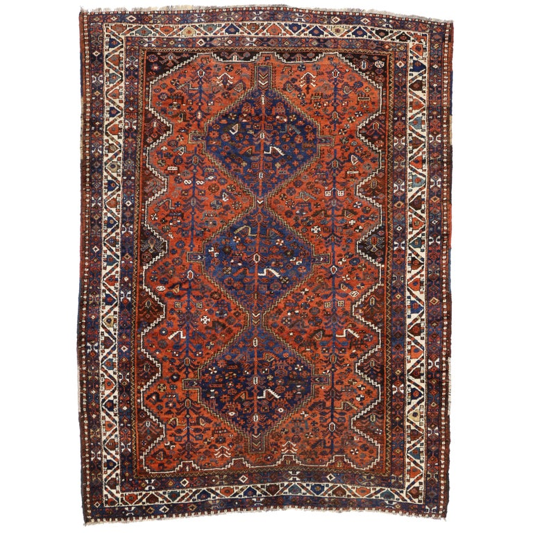 Persian Tribal Rugs: Antique Shiraz Persian Rug With Modern Tribal Style For